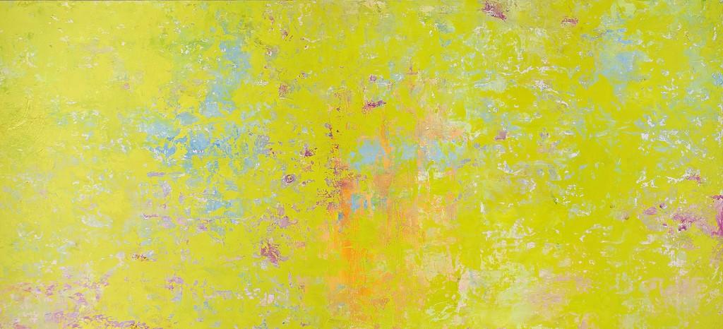 In giardino - Olio e tecnica mista su tavola 105x50 cm