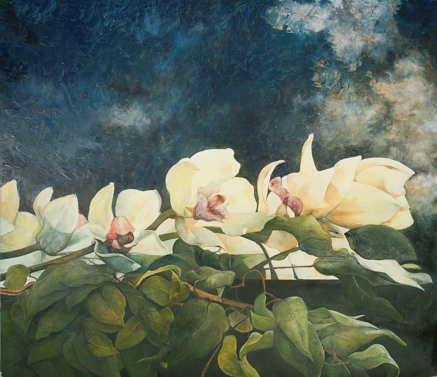 Orchidee - olio su tavola - 139x164 cm