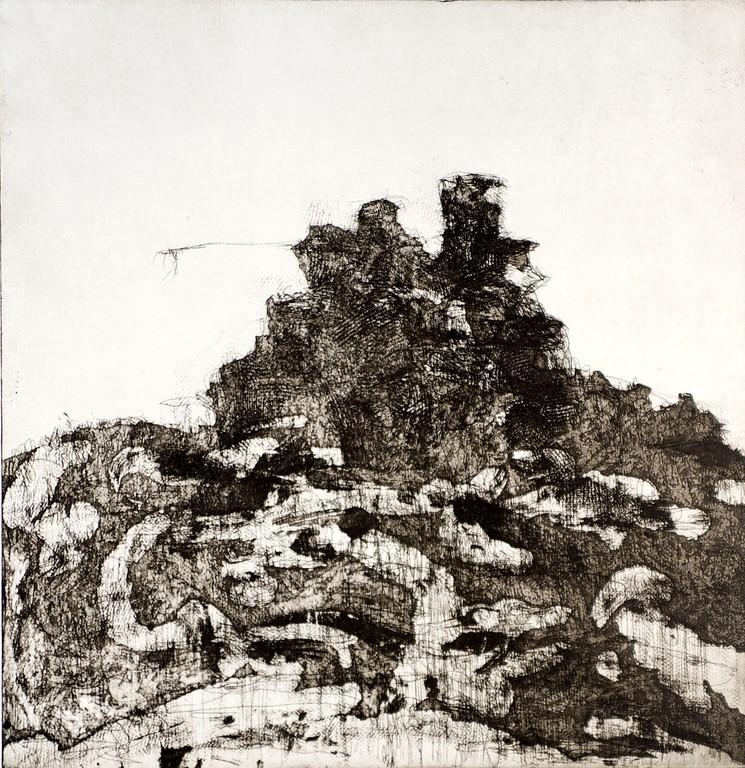 Castello - tecnica mista dell'incisione - monocromia - 29x 20 cm