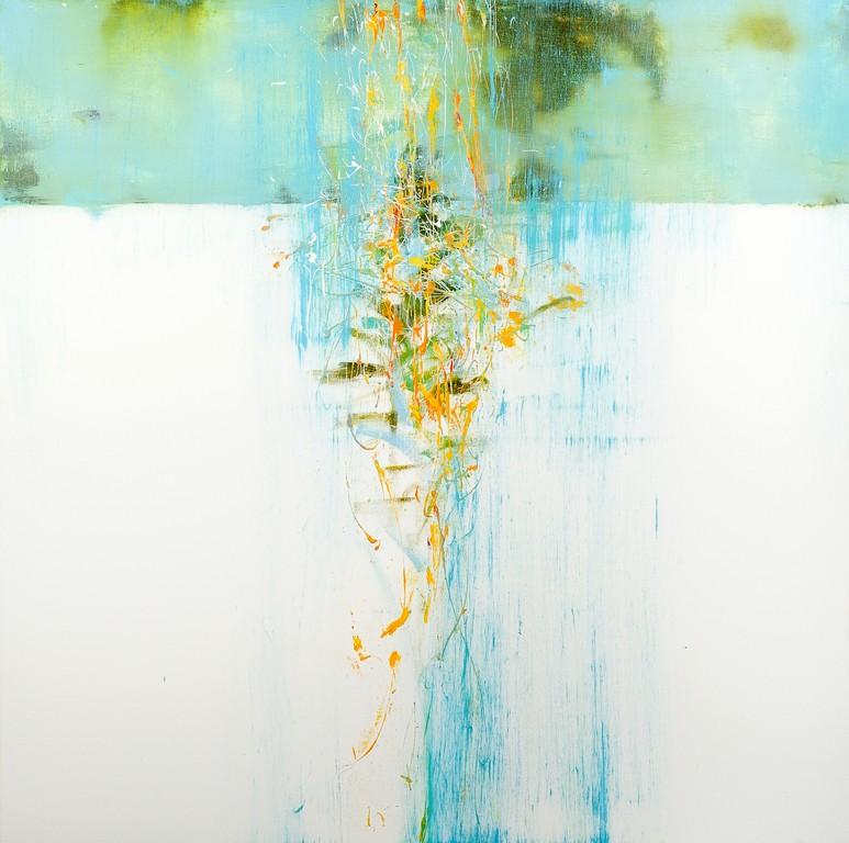 Piove 2 - olio e tecnica mista su tela - 100x100 cm