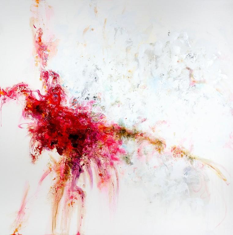 Fiori - olio e tecnica mista su tela - 100x100 cm