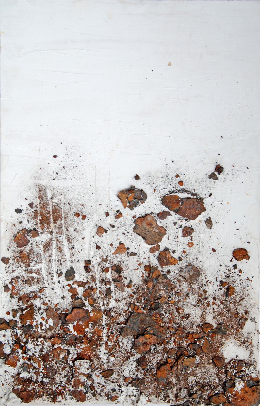Incrostazioni 2 - gesso acrilico, ruggine su tavola 48x31 cm