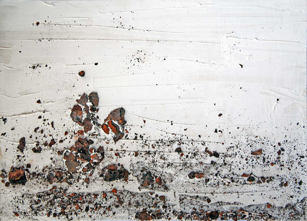 Incrostazioni 3 - gesso, acrilico, ruggine su tavola - 29x40 cm
